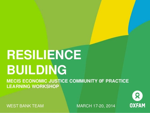 RESILIENCE BUILDING MECIS ECONOMIC JUSTICE COMMUNITY 0F PRACTICE LEARNING WORKSHOP WEST BANK TEAM MARCH 17-20, 2014