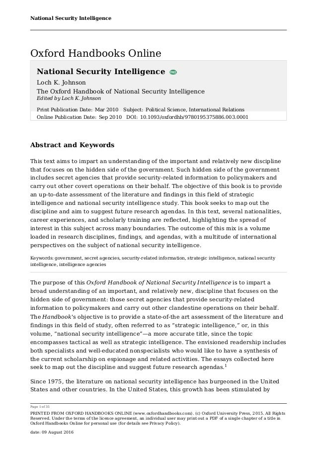 the oxford h andbook of national security intelligence johnson loch k