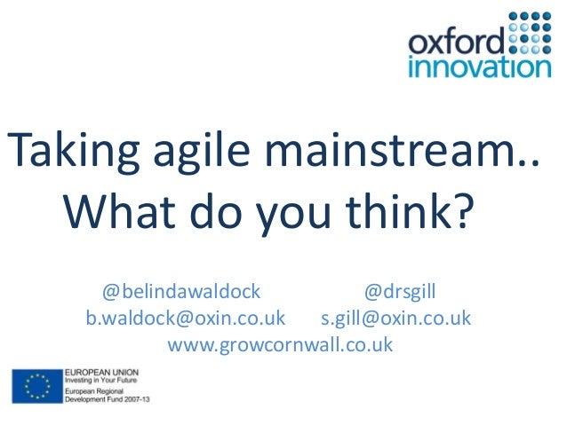Taking Agile Mainstream - Agile on the Beach 2013 Belinda Waldock