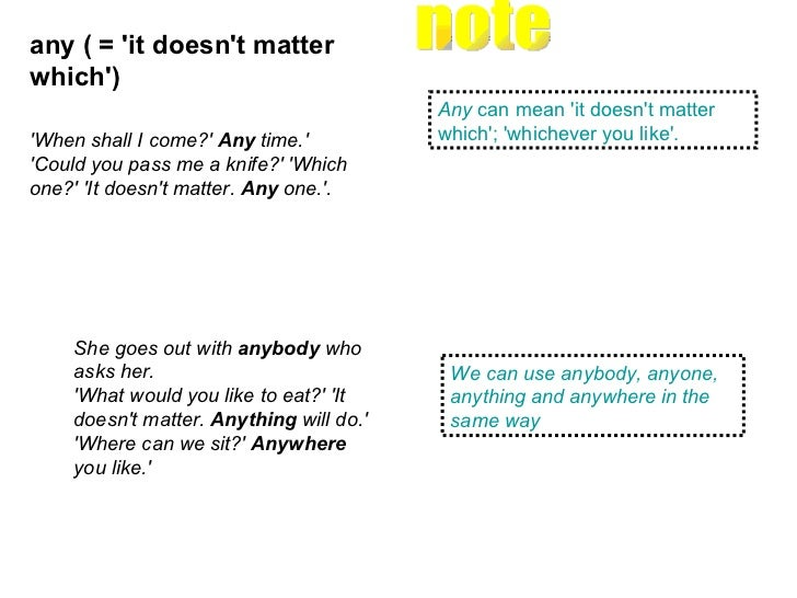 Any  can mean 'it doesn't matter which'; 'whichever you like'.  any ( = 'it doesn't matter which')   We can use anybody, a...