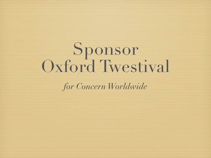 Sponsor Oxford Twestival   for Concern Worldwide