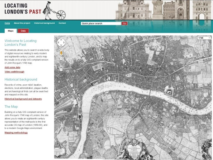 John Rocque's 1746 map of London, illustratingthe distortion created in warping.