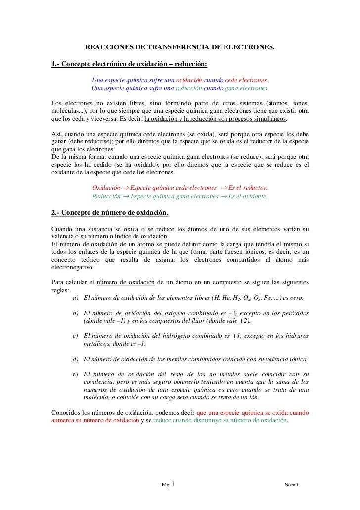 REACCIONES DE TRANSFERENCIA DE ELECTRONES.1.- Concepto electrónico de oxidación – reducción:              Una especie quím...