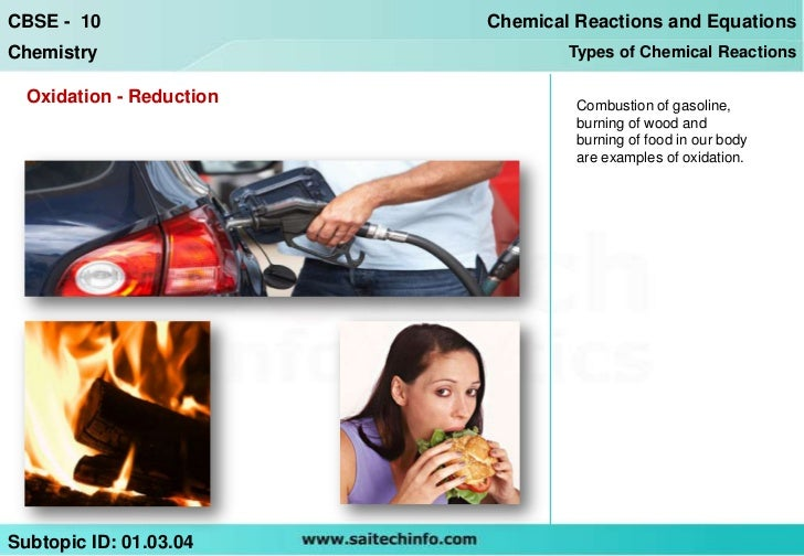 CBSE - 10                 Chemical Reactions and EquationsChemistry                         Types of Chemical Reactions  O...