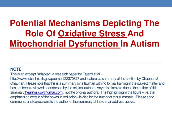 Potential Mechanisms Depicting The    Role Of Oxidative Stress AndMitochondrial Dysfunction In AutismNOTE:This is an excer...