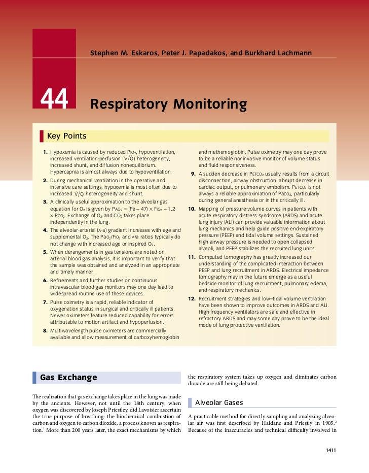 Stephen M. Eskaros, Peter J. Papadakos, and Burkhard Lachmann   44                     Respiratory Monitoring      Key Poi...