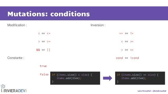 Loïc Knuchel - @loicknuchel Mutations: conditions Modification : < ⇔ <= > ⇔ >= && ⇔ || Constante : true false Inversion : ...