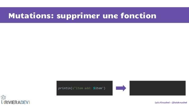 """Loïc Knuchel - @loicknuchel Mutations: supprimer une fonction println(s""""item add: $item"""")"""