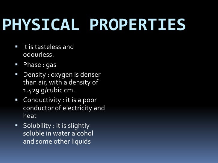What Is Oxygen And Some Physical Properties