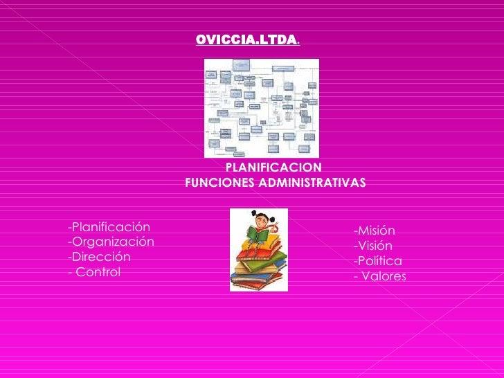OVICCIA.LTDA . PLANIFICACION  FUNCIONES ADMINISTRATIVAS <ul><li>-Planificación </li></ul><ul><li>-Organización </li></ul><...
