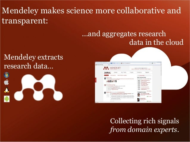 Mendeley makes science more collaborative and  transparent:  ...and aggregates research  data in the cloud  Mendeley extra...