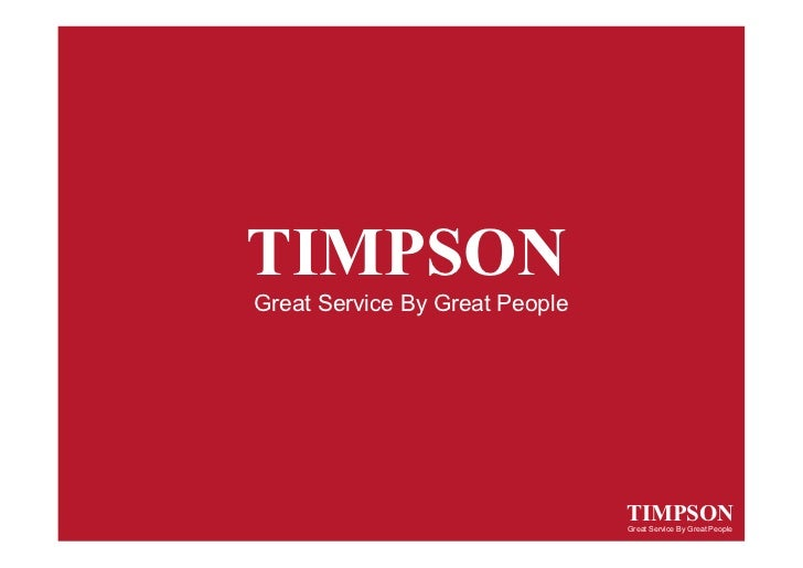 TIMPSONGreat Service By Great People                                TIMPSON                                Great Service B...