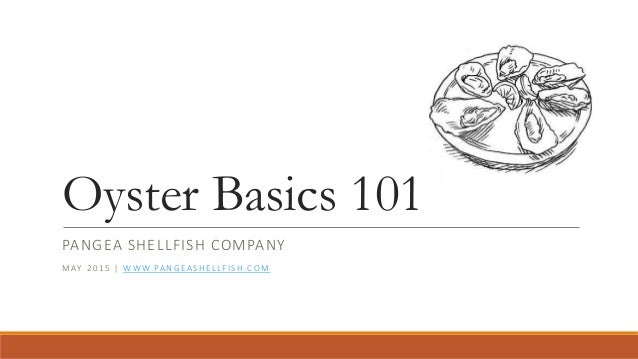 Oyster Basics 101 PANGEA SHELLFISH COMPANY MAY 2015 | WWW.PANGEASHELLFISH.COM