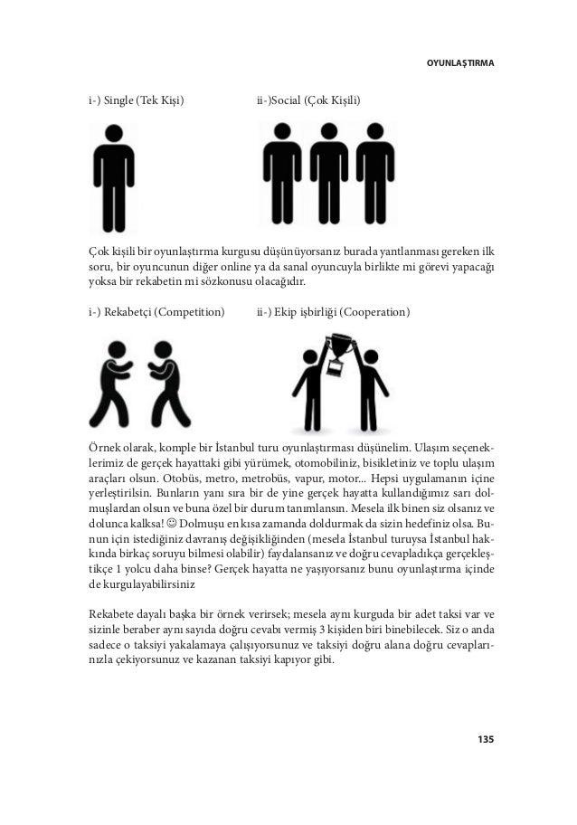 OYUNLAŞTIRMA 135 i-) Single (Tek Kişi)  ii-)Social (Çok Kişili) Çok kişili bir oyunlaştırma kurgusu düşünüyorsanız burad...