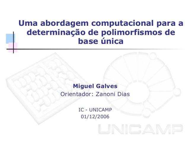 Uma abordagem computacional para a determinação de polimorfismos de base única Miguel Galves Orientador: Zanoni Dias IC - ...