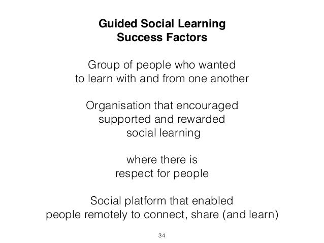 Guided Social Learning  Success Factors  Group of people who wanted  to learn with and from one another  Organisation that...