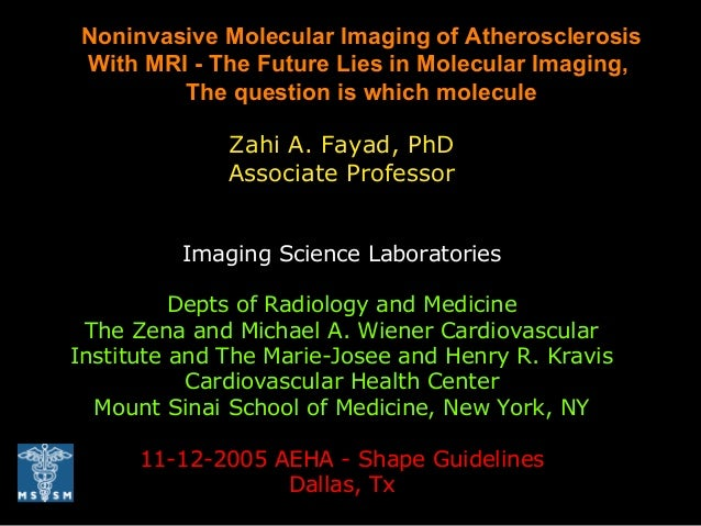 Zahi A. Fayad, PhD Associate Professor Imaging Science Laboratories Depts of Radiology and Medicine The Zena and Michael A...