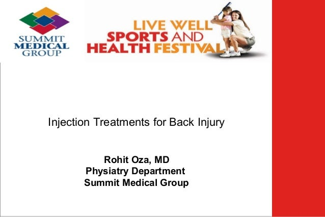 Low Back Pain  Injection Treatments for Back Injury Rohit Oza, MD Physiatry Department Summit Medical Group