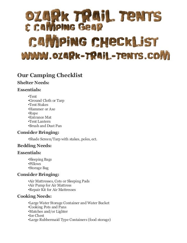 Our Camping Checklist Shelter Needs Essentials OTent OGround Cloth Or Tarp
