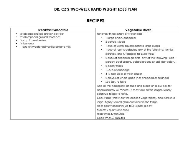 The Dr Oz Two Week Diet