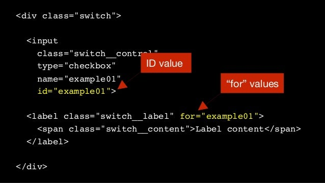 """<div class=""""switch""""> <input class=""""switch__control"""" type=""""checkbox"""" name=""""example01"""" id=""""example01""""> <label class=""""switch_..."""