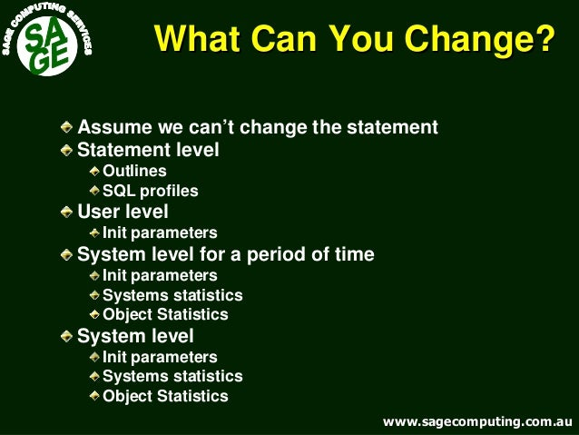 www.sagecomputing.com.auwww.sagecomputing.com.au What Can You Change?What Can You Change? Assume we can't change the state...