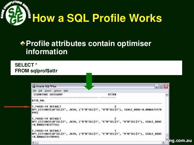 www.sagecomputing.com.auwww.sagecomputing.com.au How a SQL Profile WorksHow a SQL Profile Works Profile attributes contain...