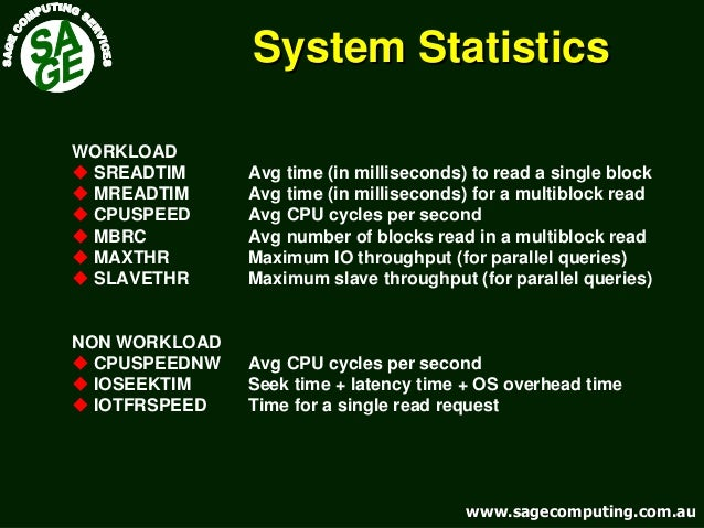 www.sagecomputing.com.auwww.sagecomputing.com.au System StatisticsSystem Statistics WORKLOAD SREADTIM Avg time (in millise...