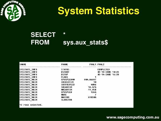 www.sagecomputing.com.auwww.sagecomputing.com.au System StatisticsSystem Statistics SELECT * FROM sys.aux_stats$