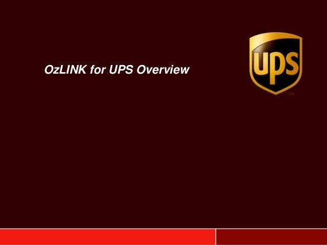 OzLINK for UPS Overview