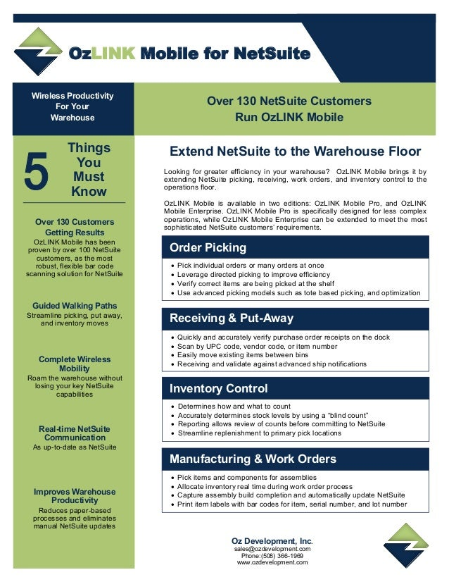 OzLINK Mobile for NetSuite Improves Warehouse Productivity Reduces paper-based processes and eliminates manual NetSuite up...