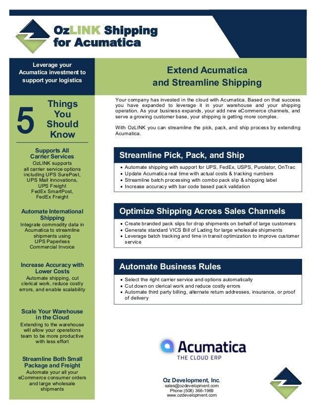 OzLINK Shipping for Acumatica
