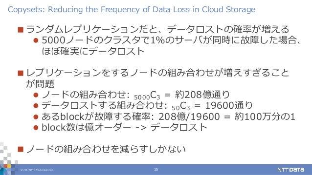 © 2017 NTT DATA Corporation 15  ランダムレプリケーションだと、データロストの確率が増える  5000ノードのクラスタで1%のサーバが同時に故障した場合、 ほぼ確実にデータロスト  レプリケーションをするノー...