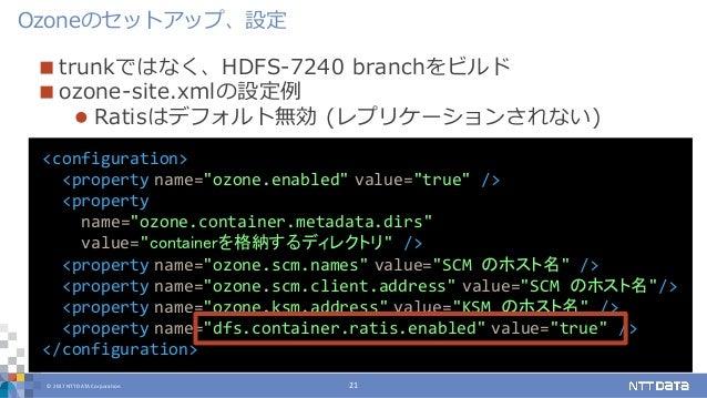 © 2017 NTT DATA Corporation 21  trunkではなく、HDFS-7240 branchをビルド  ozone-site.xmlの設定例  Ratisはデフォルト無効 (レプリケーションされない) Ozoneの...