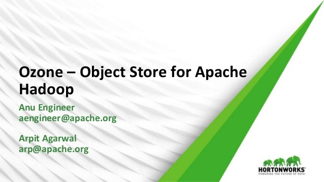 1 © Hortonworks Inc. 2011 – 2016. All Rights Reserved Ozone – Object Store for Apache Hadoop Anu Engineer aengineer@apache...