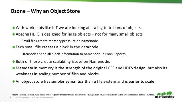 2 © Hortonworks Inc. 2011 – 2016. All Rights Reserved Ozone – Why an Object Store ⬢ With workloads like IoT we are looking...