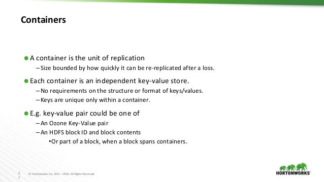 2 1 © Hortonworks Inc. 2011 – 2016. All Rights Reserved Containers ⬢ A container is the unit of replication –Size bounded ...