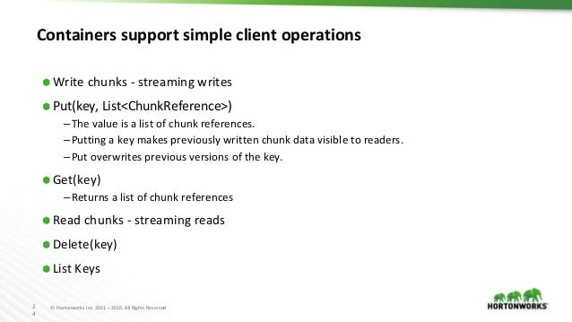 2 4 © Hortonworks Inc. 2011 – 2016. All Rights Reserved Containers support simple client operations ⬢ Write chunks - strea...