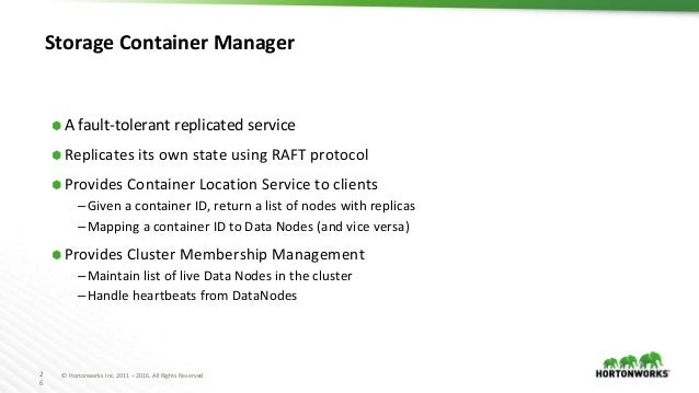 2 6 © Hortonworks Inc. 2011 – 2016. All Rights Reserved Storage Container Manager ⬢ A fault-tolerant replicated service ⬢ ...