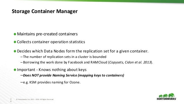 2 8 © Hortonworks Inc. 2011 – 2016. All Rights Reserved Storage Container Manager ⬢ Maintains pre-created containers ⬢ Col...