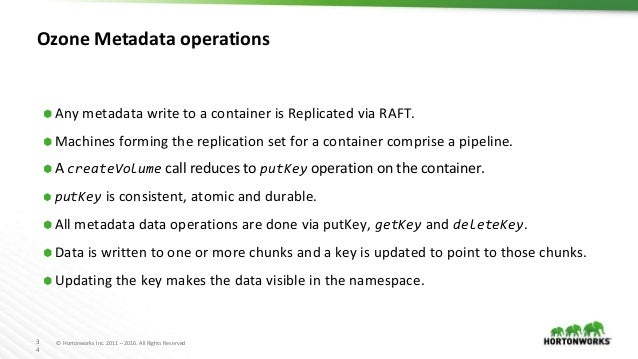 3 4 © Hortonworks Inc. 2011 – 2016. All Rights Reserved Ozone Metadata operations ⬢ Any metadata write to a container is R...
