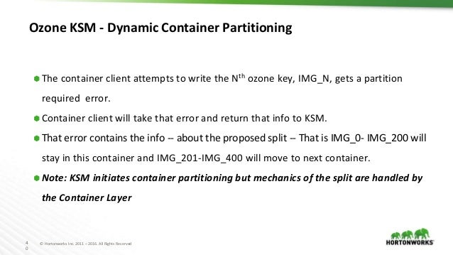 4 0 © Hortonworks Inc. 2011 – 2016. All Rights Reserved Ozone KSM - Dynamic Container Partitioning ⬢ The container client ...