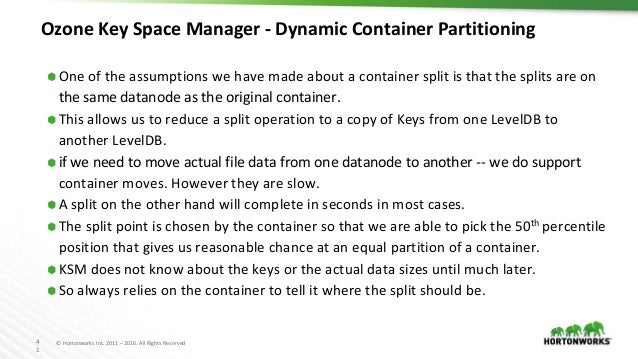 4 1 © Hortonworks Inc. 2011 – 2016. All Rights Reserved Ozone Key Space Manager - Dynamic Container Partitioning ⬢ One of ...
