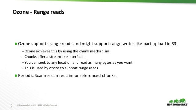 4 5 © Hortonworks Inc. 2011 – 2016. All Rights Reserved Ozone - Range reads ⬢ Ozone supports range reads and might support...
