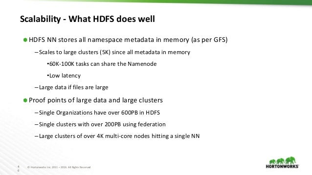 4 6 © Hortonworks Inc. 2011 – 2016. All Rights Reserved Scalability - What HDFS does well ⬢ HDFS NN stores all namespace m...