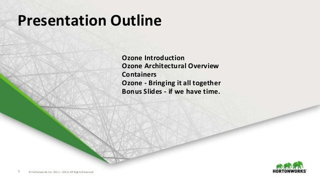 5 © Hortonworks Inc. 2011 – 2016. All Rights Reserved5 © Hortonworks Inc. 2011 – 2016. All Rights Reserved Presentation Ou...