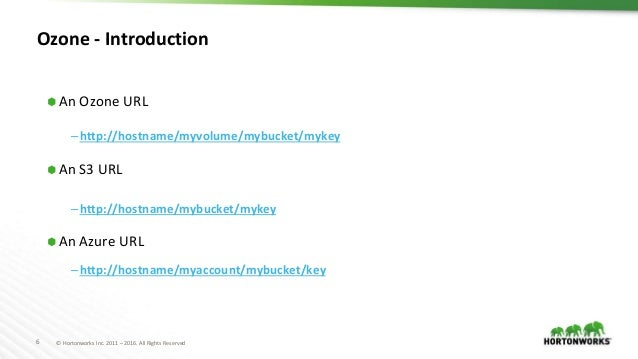 6 © Hortonworks Inc. 2011 – 2016. All Rights Reserved Ozone - Introduction ⬢ An Ozone URL –http://hostname/myvolume/mybuck...