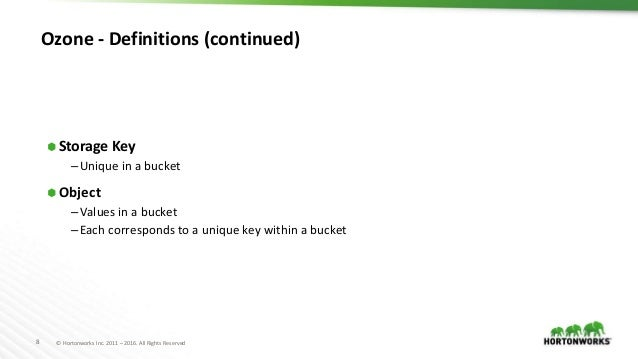 8 © Hortonworks Inc. 2011 – 2016. All Rights Reserved Ozone - Definitions (continued) ⬢ Storage Key –Unique in a bucket ⬢ ...