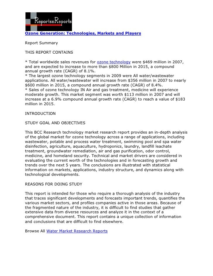 Ozone Generation: Technologies, Markets and PlayersReport SummaryTHIS REPORT CONTAINS* Total worldwide sales revenues for ...