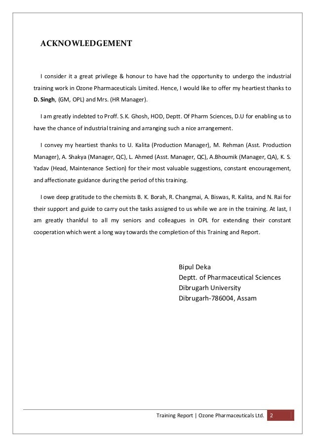 Sample Acknowledgement for Internship Report